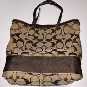 COACH Large Brown Signature Tote Shoulder Bag